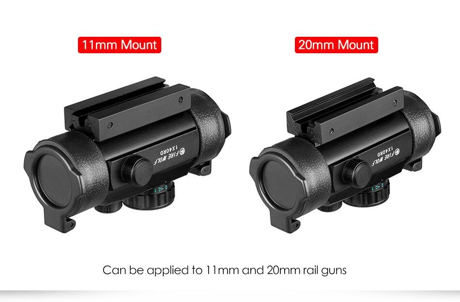 1x40 riflescopes caça tático holográfico vermelho ponto