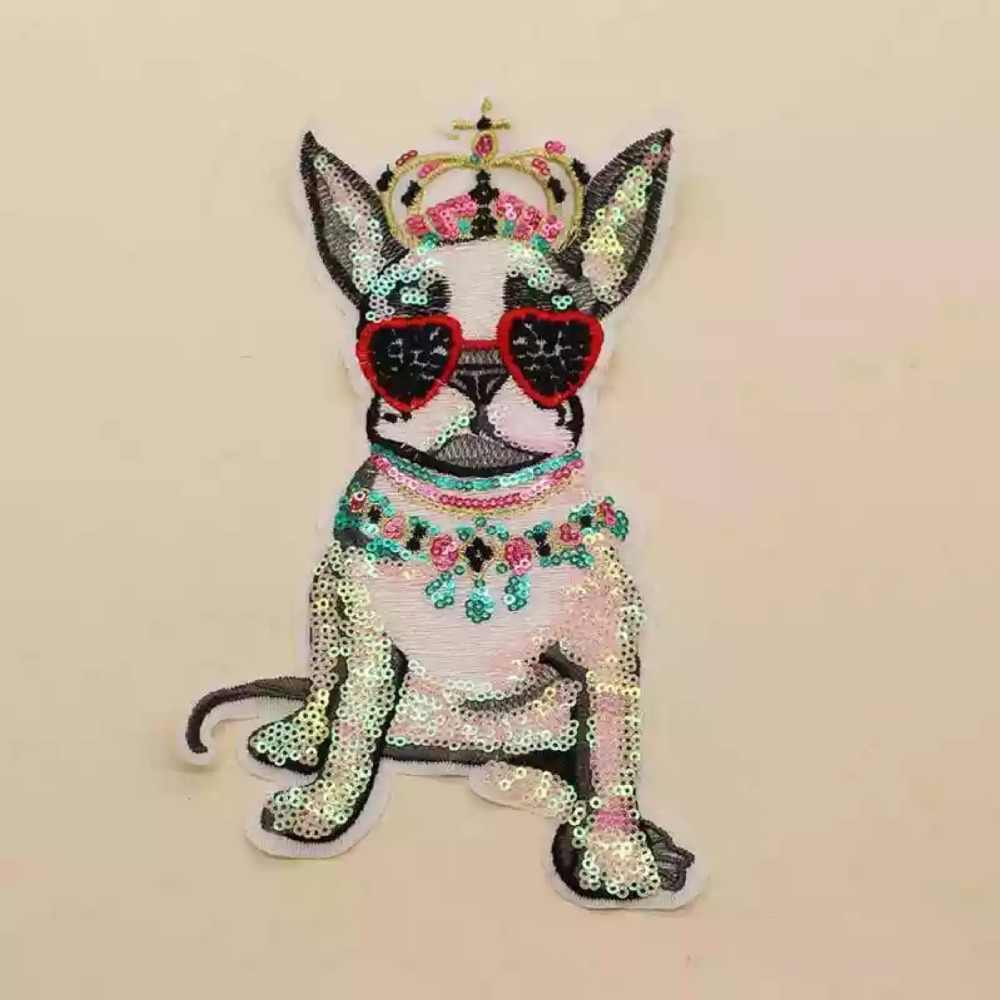 crown dog patches sew on patch for clothes motif sequined embroidery applique ON