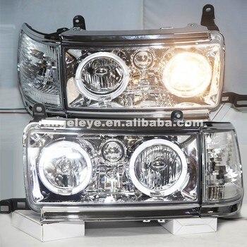 Headlights For Toyota Land cruiser LC80 FJ80 Prado 4500 1990-1997 Year LED Head lamp Chrome Housing