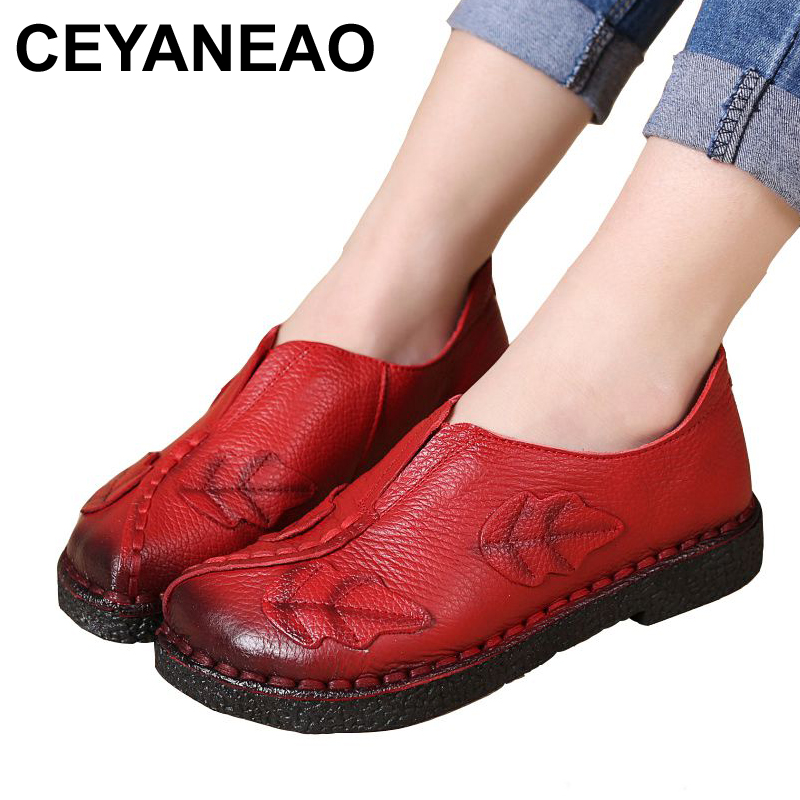 CEYANEAO Soft hand hand-sewn women shoes Leather fashion Mother work shoes casual comfortable female breathable flat shoes size aiyuqi 2018 new women s genuine leather shoes casual flat bottom breathable wear comfortable mother shoes female size 41 42 43