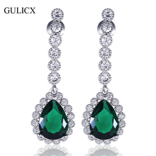 GULICX Luxury Wedding  White Gold-color Dangle Drop Earring for Women Teardrop Green/Red/Blue Crystal CZ Long Jewelry AE05