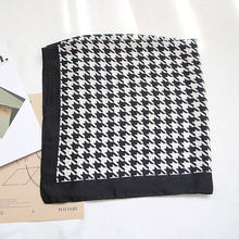 Classic Houndstooth Scarf for Women Head Bandage Silk-like Sjaal Female Bag Decoration Bandana Female Handkerchief(China)