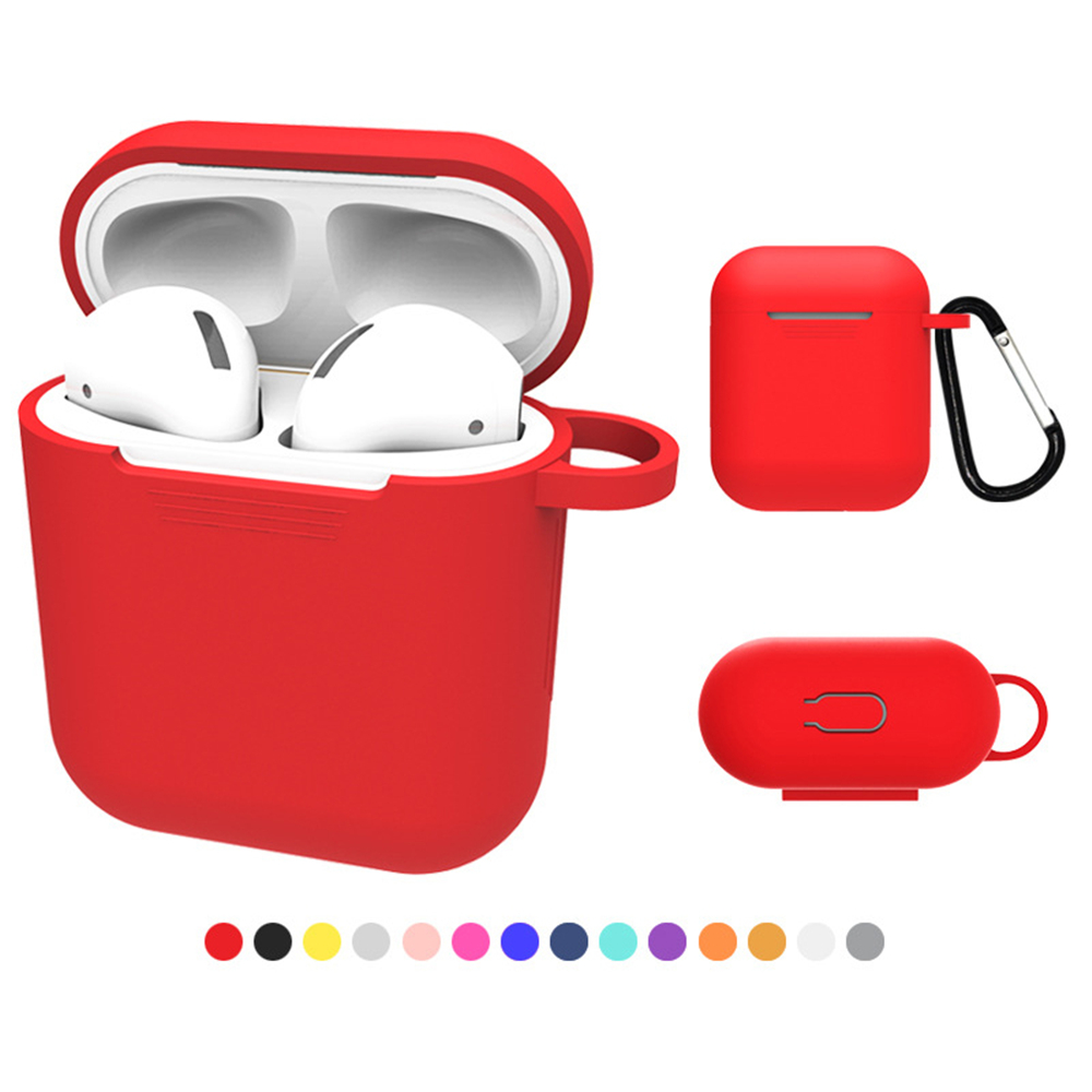 VirWir Silicone Protective Case for Apple Wireless Earphone Pouch with keychain Protector Skin cover for Apple AirPods Air Pods