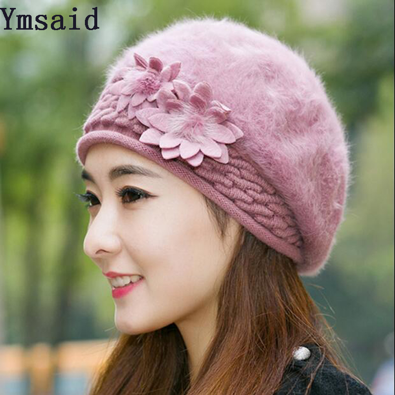 Ymsaid Beanies Women Fur Winter Hats Beret Girl Knitted Autumn Hats For Women Bonnet Brand Rabbit hair Ladies Warm Skullies Hat velvet thick keep warm winter hat for women rabbit fur knitted beanies ladies female fashion skullies elegant hats for women