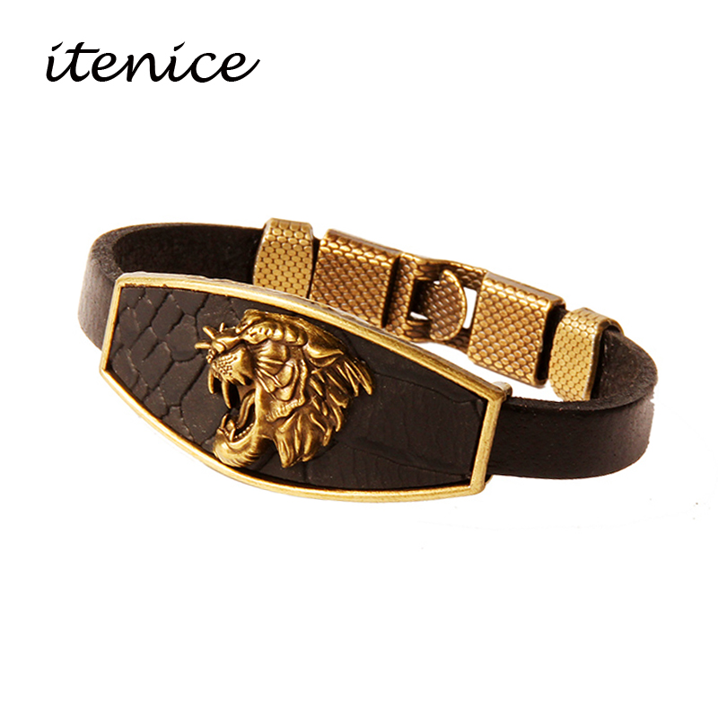 Design Men Bracelets Geometric Bronze Cross Wing Lion Owl Shackles Black Leather Bracelet Men Wristband Fashion Jewelry Unisex