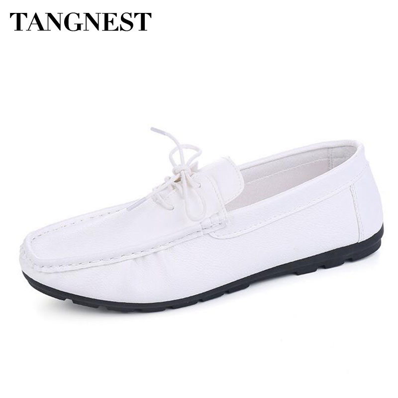 Tangnest New Summer Men Loafers Fashion Moccasins Shoes Soft Leather Slip-on Flats Man Casual Driving Shoes White XMR2605 farvarwo genuine leather alligator crocodile shoes luxury men brand new fashion driving shoes men s casual flats slip on loafers