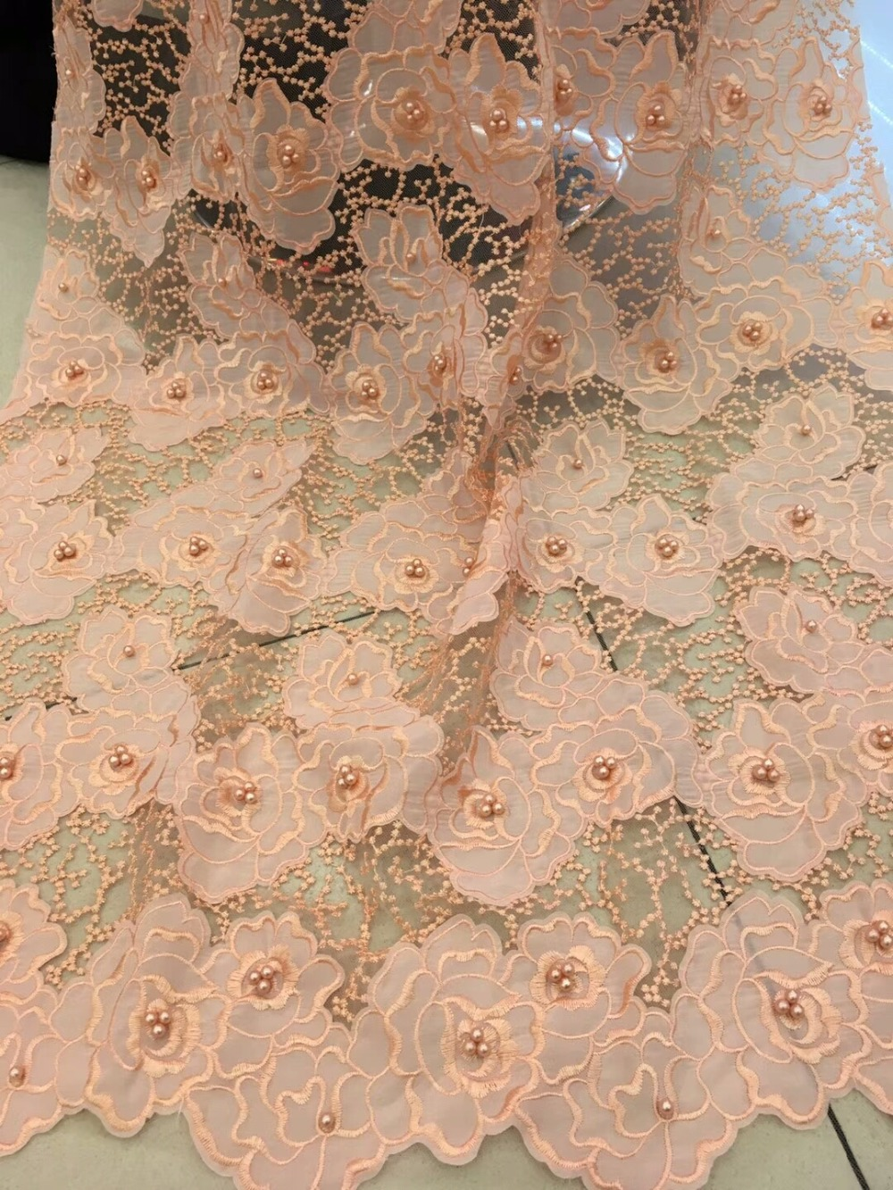 Newcoming french lace fabric with beads high quality african net tulle lace fabric in flowers pattern design   jiaa114Newcoming french lace fabric with beads high quality african net tulle lace fabric in flowers pattern design   jiaa114
