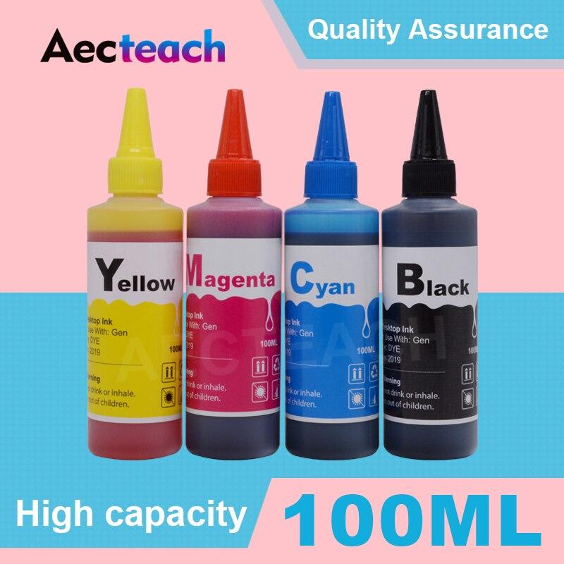 aecteach 4 cor kit de recarga de tinta corante para hp 56 57 343 338 337