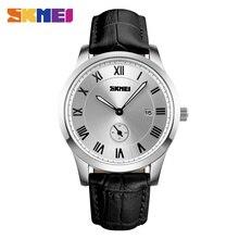 SKMEI Мужчины Кварцевые Наручные Часы Бизнес Мужской Моды Случайные Часы Классические Оригинальные Водонепроницаемый Кожаный Ремешок Часы 1132
