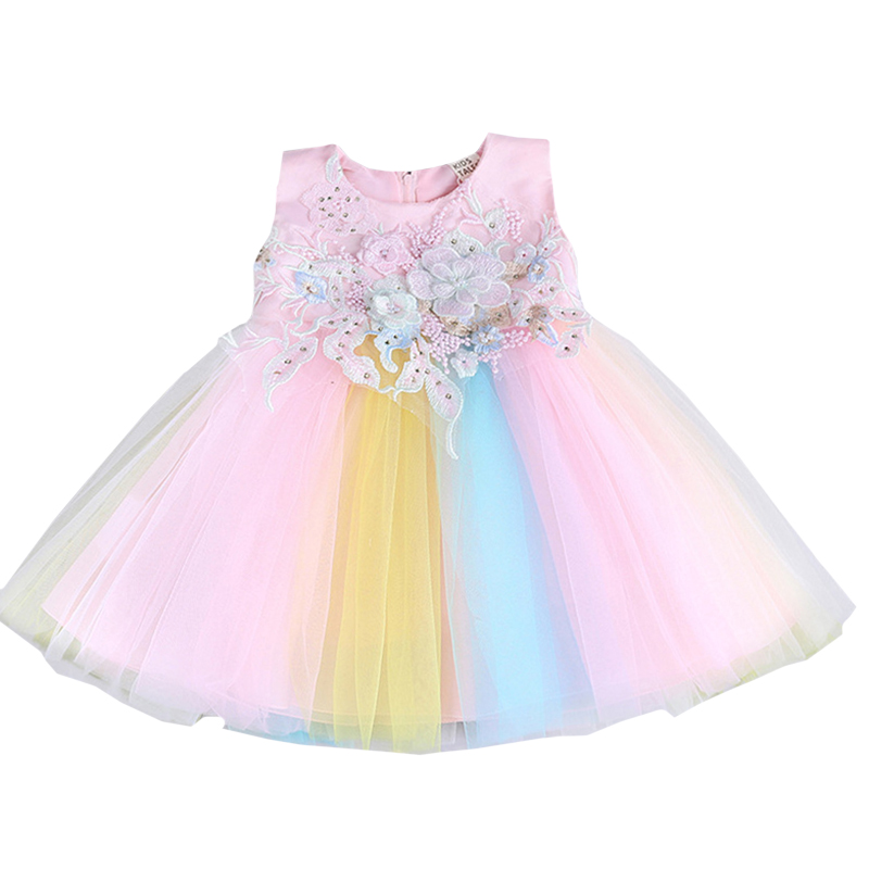 Summer Newborn Rainbow Party Dress for Baby Girl Dress Wedding Easter Baby Birthday Dress for Girl 0-2 Years Infant Fancy Frocks(China)