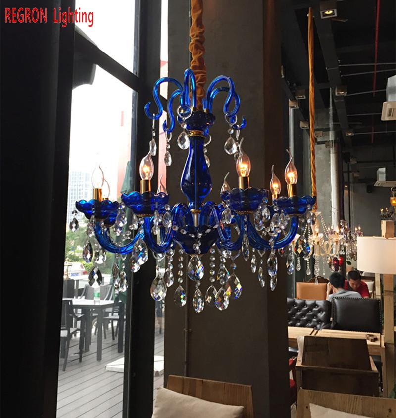 Regron Led Chandeliers Art Deco Blue Glass Crystal Chandelier For Dining Room Cafe Bar Home Banquet Modern Lighting