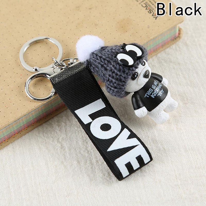 New Teddy Bear Key Chains Women Cute Bear Love Ribbon Keychain Key Rings Fashion Bag Car Charms Jewelry For Valentines Day Gift