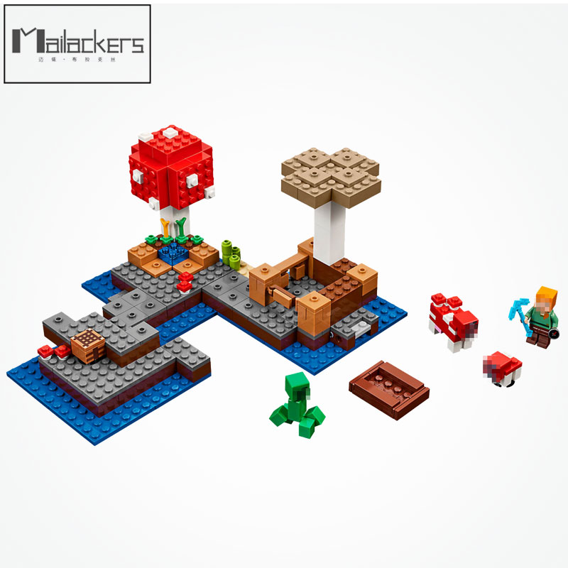 Mailackers 21129 Legoing Minecraft Figure Blocks Steve The Mushroom Minecrafted Island Minecrafts Legoings D824 Toy For Children 1