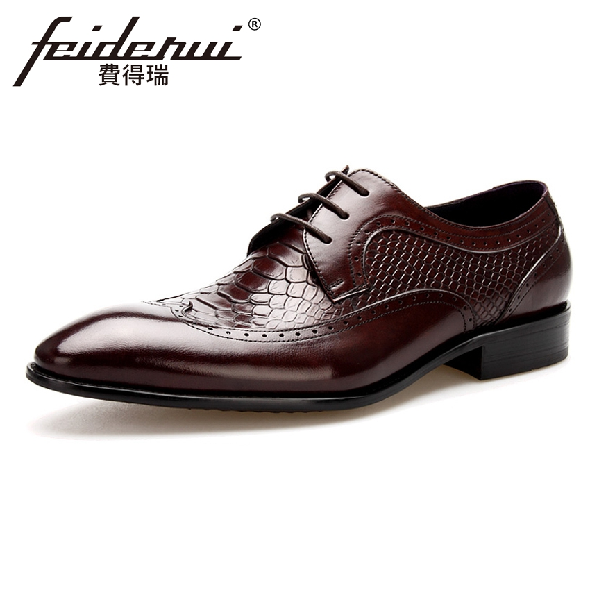 Alligator Genuine Leather Mens Handmade Oxfords Formal Dress Round Toe Man Wingtip Flats Male Wedding Bridal Brogue Shoes BQL72