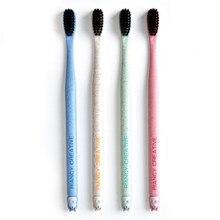 Brosse à dents en bambou Portable, brosse à dents en charbon de bois souple, nettoyant pour la langue, pour enfants et adultes, outil d'hygiène buccale avec étui, 1 pièce