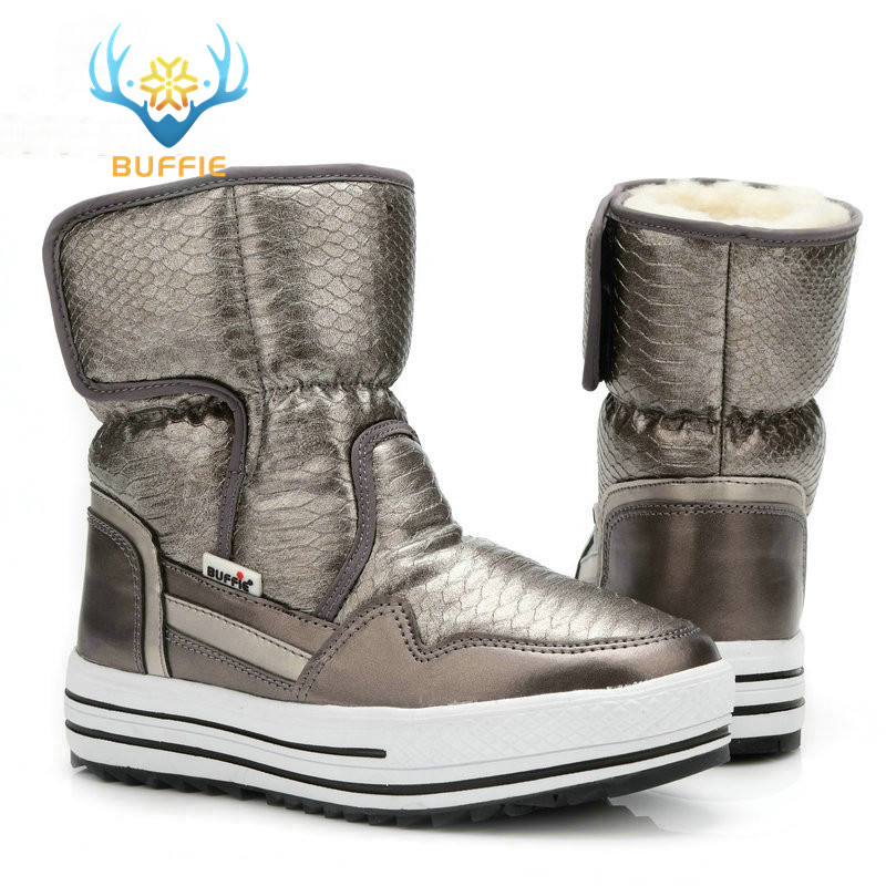 6ffdeeab3f6 Comprar Botas zapatos de mujer de piel resistente al agua superior plus  tamaño de moda suela antideslizante envío gratis nuevo estilo bota de nieve  Online ...