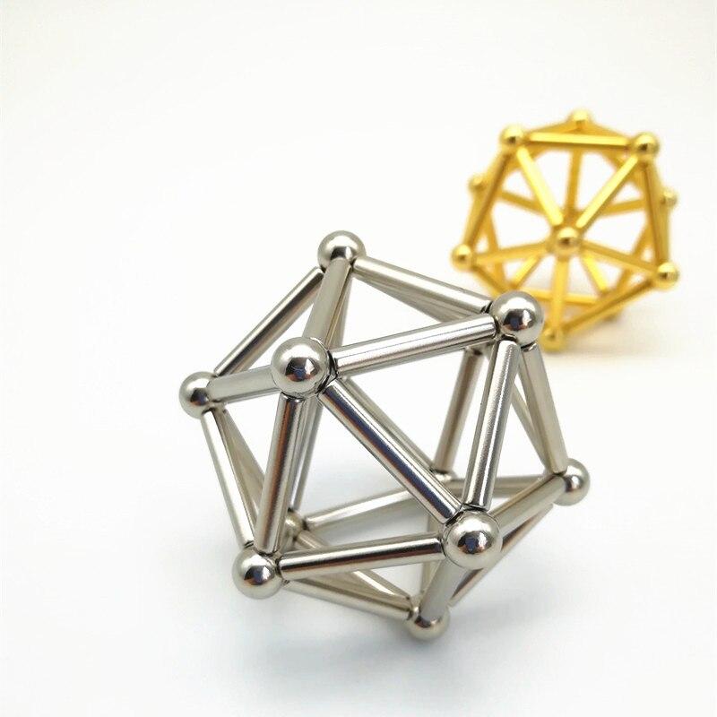 63pcs Neodymium Magnet Bars & Metal Balls Construction Creative magnets Pressure Release ...