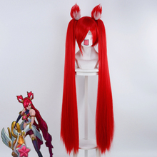 LOL Jinx 100cm Magic Girl Long Straight Ponytail for Women Female Cosplay Wigs High Quality Synthetic Wig Red Halloween Party 2015 new hot sell lol new hero jinx 100cm long blue braid cosplay party hair wig free shipping