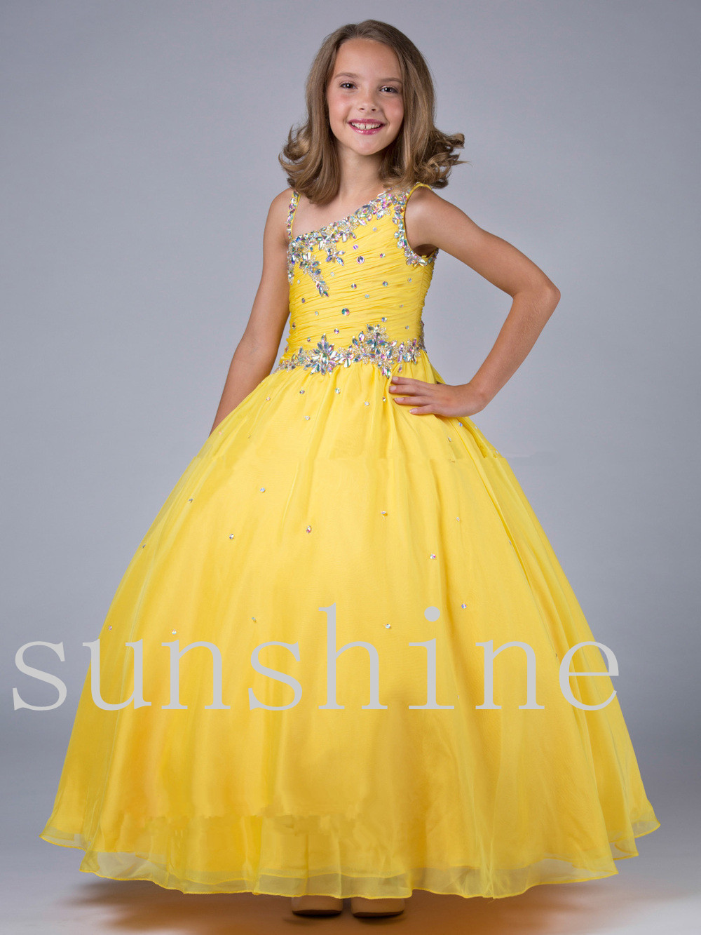 2016 Girls Pageant Dresses Ball Gown Yellow Pink Mint Green Beaded