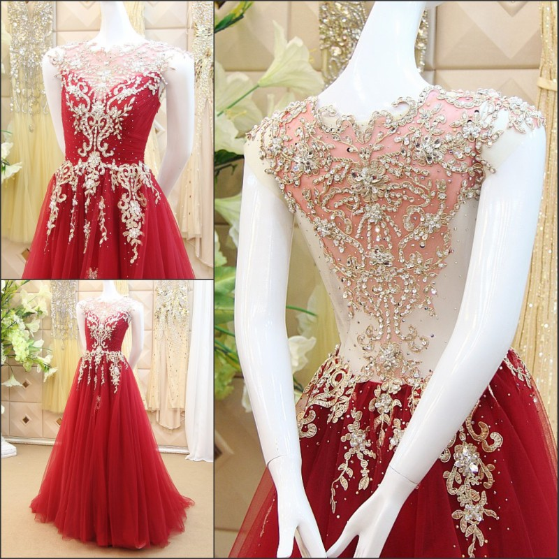 A line Elegant Lace Beading Crystal Arabic Muslim Gowns Evening ...