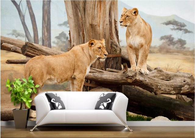 3d wallpaper room Savannah lion natural wildlife home decor painting