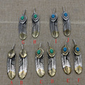 925 Sterling Silver Japan fashion jewelry Takahashi  Engraved Silver Turquoise Pendant pendant feather lovers