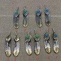 Jóias da moda Prata Esterlina 925 Japão Takahashi Gravada Prata Turquesa Pingente amantes pingente de pena
