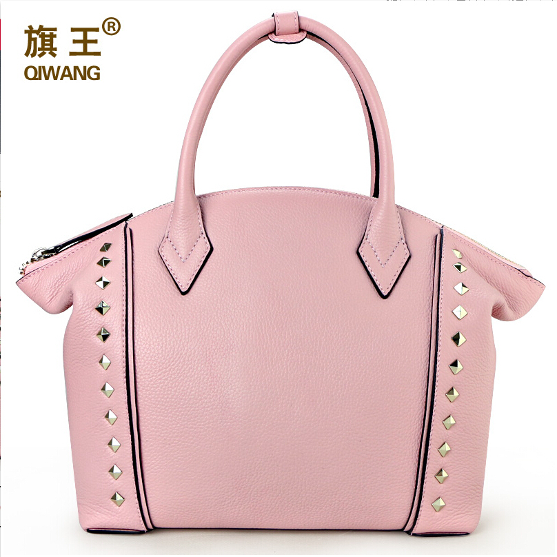 Top quality women bag genuine leather bag QIWANG famous brands fashion Luxury women handbag Shoulder Messenger Bag black pink