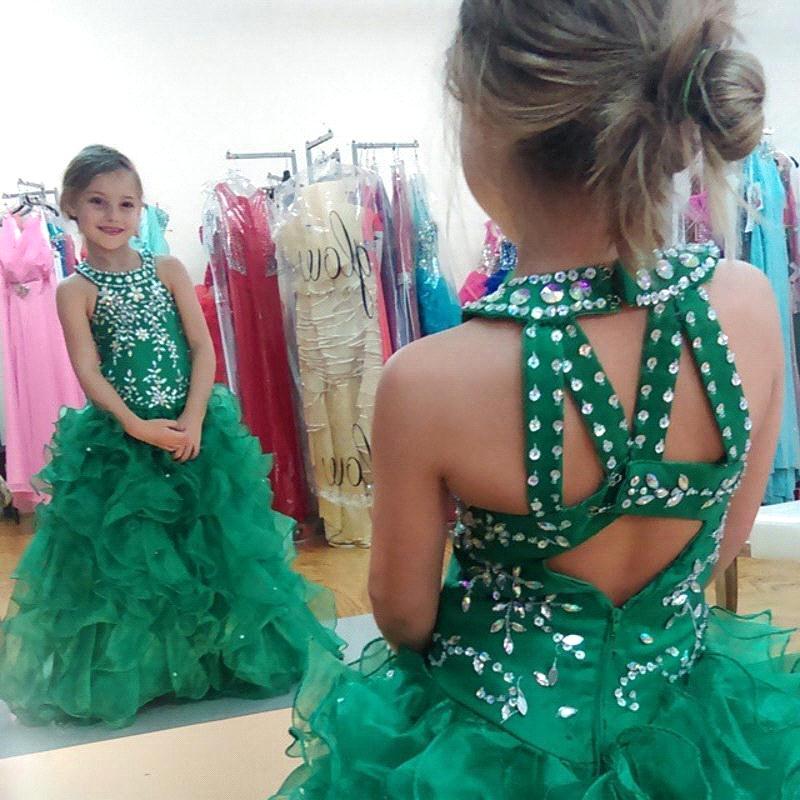New Cute Green Organza Ruffles Beaded   Girls   Pageant   Dress     Flower     Girl     Dresses   2019 First Communion   Dresses