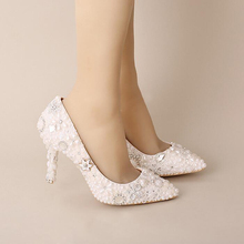 White Elegant High Heels Bride Shoes Wedding Shoes Pointed Toe Formal Dress Shoes Pearl Rhinestone Sparkling Bridal Shoes Women