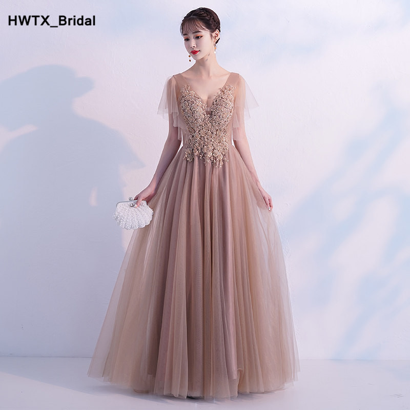 Charming Applique Lace   Bridesmaid     Dresses   2018 Formal Long A Line V Neck Beading Wedding Party Gowns Vestido de festa longo