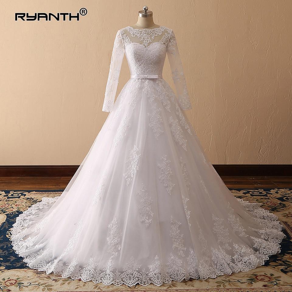 Vestido de Noiva Custom Made Long Sleeves Princess Ball Gown Wedding Dress 2019 Cheap Vestido de