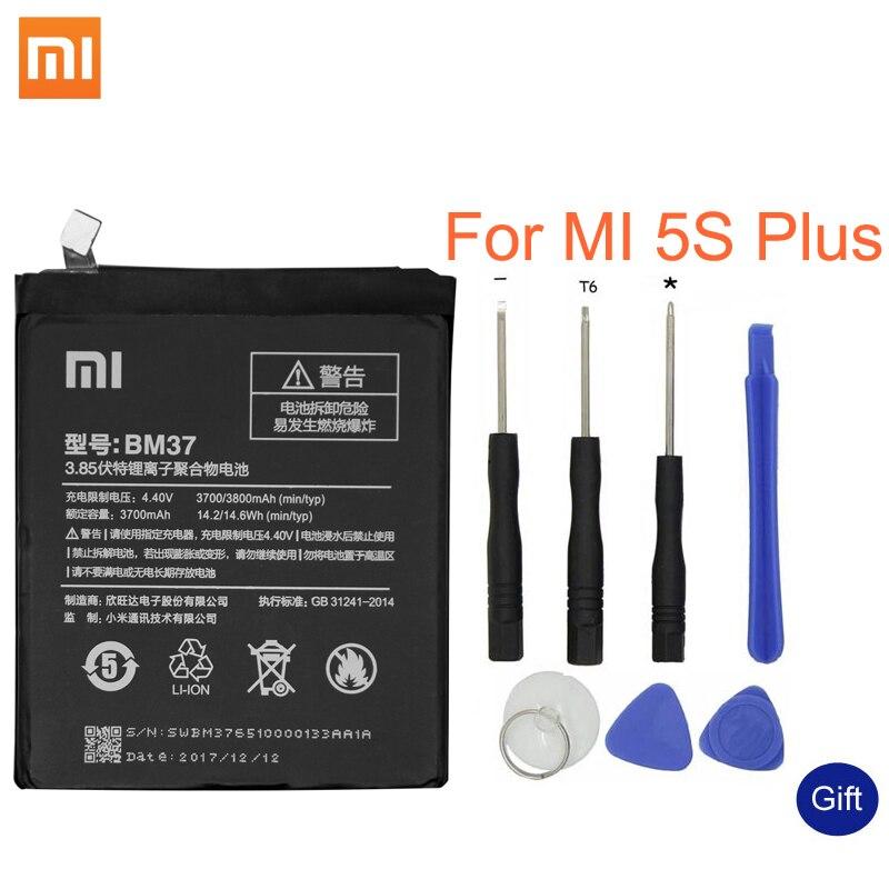 Xiao mi BM37 para Xiaomi mi 5S Plus versión internacional de la batería del teléfono móvil de alta capacidad de 3800 mAh para batería de polímero de litio