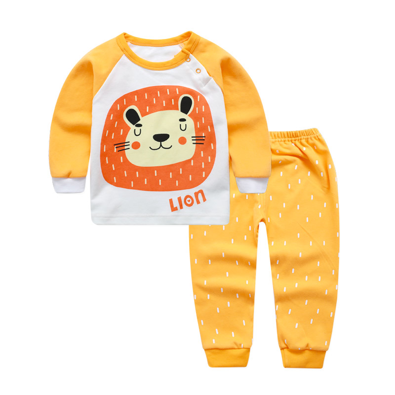 Infant Baby Clothing Sets Cotton Long Sleeve Spring Autumn Baby Lion Girls Pajamas Clothes Outfit Newborn Boy Suits Baby Outfits newborn infant baby girls autumn clothes set cartoon print cotton long sleeve t shirt tops pants 2pcs outfit clothing sets page 8