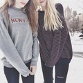 New York Letter Printed Gray Color Crew Neck Casual Harajuku Style Hip Hop Street Rock Funny Tops Sweatershirt Hoodies for Girls