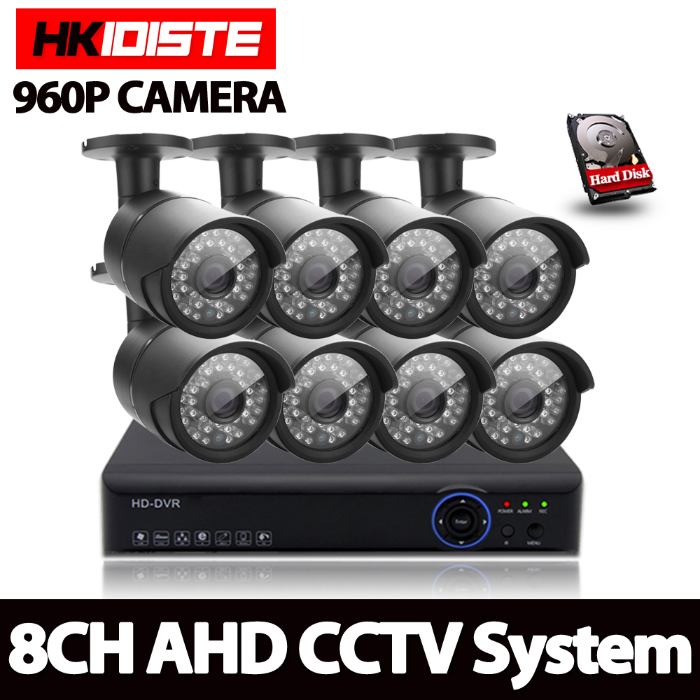 AHD 8CH 1080N HDMI 1080P HD 960P Outdoor Security Camera System 8 Channel CCTV Surveillance DVR Kit 1.3MP AHD Camera Set 1TB HDD sannce 16ch 1080n hd dvr ahd hdmi cctv 8 pcs outdoor ir cut home security camera system 16 channel surveillance kit 2tb hdd