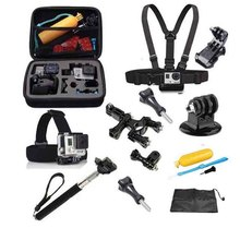 Xiaomi Yi Accessories Set 13 in 1 Helmet Harness Chest Belt Head Bike Mount Strap Monopod Case for Gopro Hero 3 4 SJ4000 Black