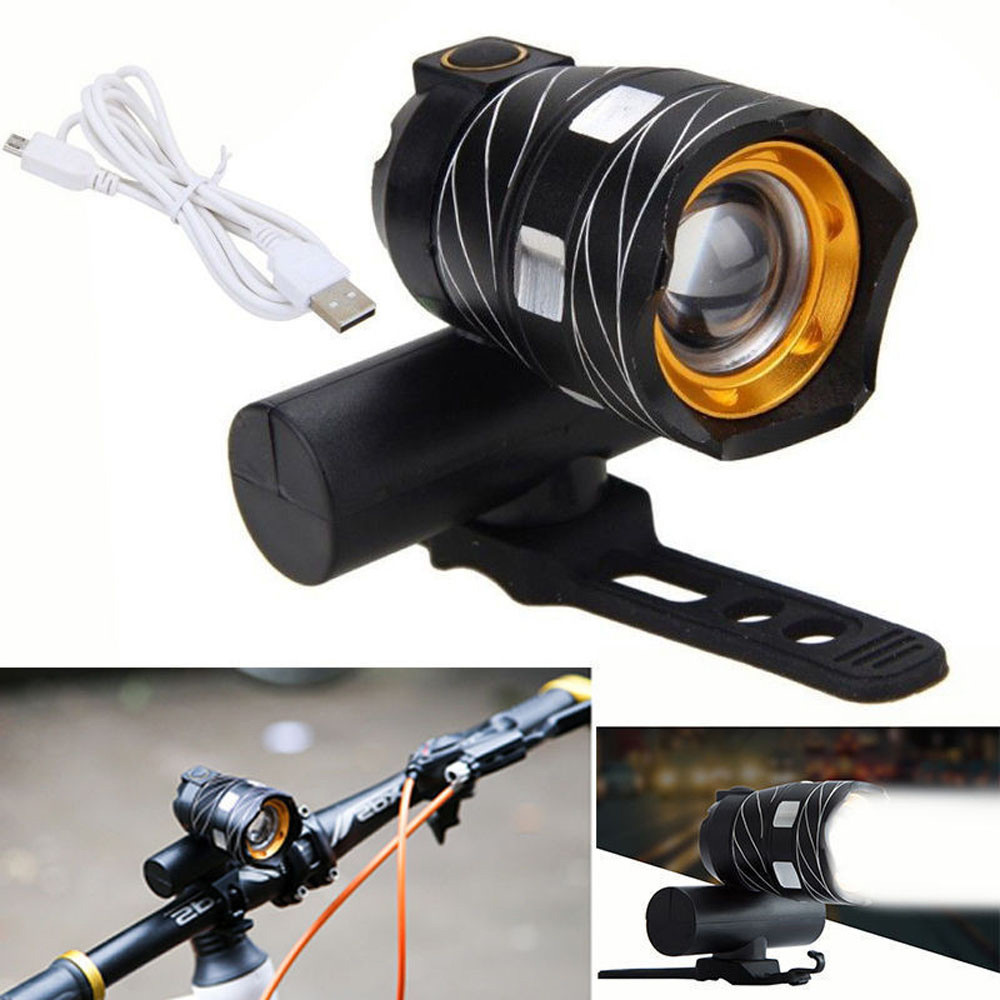 Rechargeable 15000LM XM-L T6 LED Zoomable Front Bicycle Bike Light Head Lamp