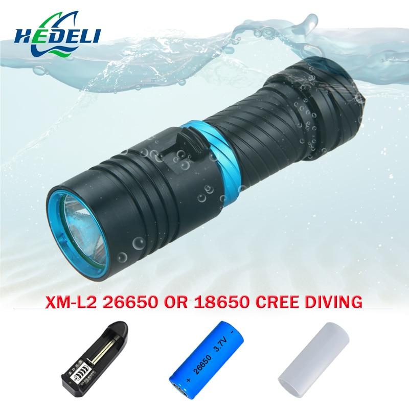цены на Scuba Powerful Diver diving flashlight L2 18650 OR 26650 rechargeable batteries led CREE XM-L2 underwater torch light в интернет-магазинах