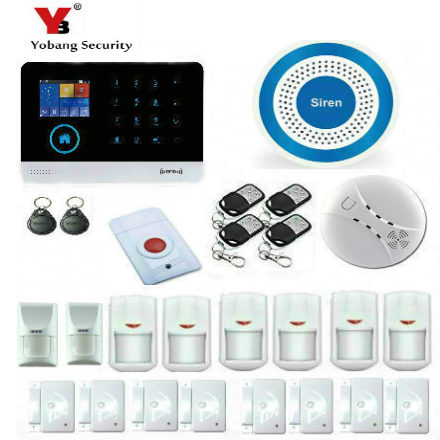 YobangSecurity IOS Android APP GSM WIFI GPRS RFID Touch Pad Home Alarm Security System With Pet Friendly Immune Detector smart android ios app controlled home alarm system touch keypad wifi gsm alarm system with pet immune motion detector siren horn