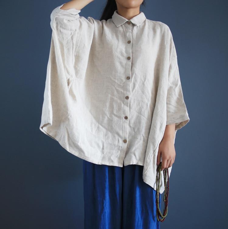 Dámské bílé lněné košile s dlouhým rukávem potlačené límec halenka ležérní Plus velikosti blůzy Dámská halenka Retro košile Kamery