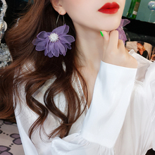 DREJEW Elegant White Purple Flower Statement Earrings Sets 2019 925 Crystal Alloy Drop Earrings for Women Wedding Jewelry HE3601 a suit of elegant faux gem white gold plating alloy flower shape necklace and earrings for women