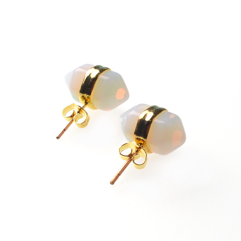 earrings gold natural dipped stud products grey boutique stone