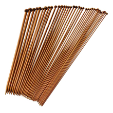 36 single pointed knitting needles made of bamboo, size of 18 kinds of carbonized (length: 25 cm)
