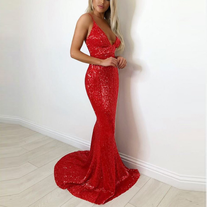 ROT V Neck Gepolsterte Volle Futter Stretch Pailletten Party Kleid Backless Bodenlangen Engen Paket Hüfte Ärmellose Abend Club Kleid-in Kleider aus Damenbekleidung bei AliExpress - 11.11_Doppel-11Tag der Singles 1