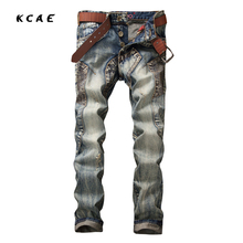 2017 High Quality Mens Jeans Retro Blue Color Printed Jeans For Men Stitching Pockets Jeans Casual
