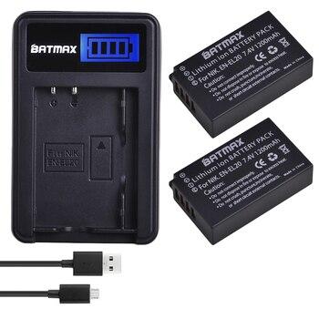 2 piezas 1200 mAh EN-EL20 es EL20 ENEL20 batería + LCD USB cargador para Nikon P1000 1 J1 J2 J3 s1 Cámara ENVÍO DE LA GOTA z1