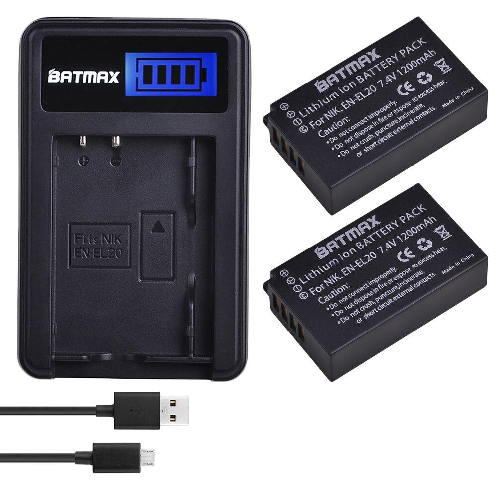 2Pcs 1200mAh EN EL20 EN EL20 ENEL20 Rechargeable Li Ion Battery USB LCD Charger for Nikon