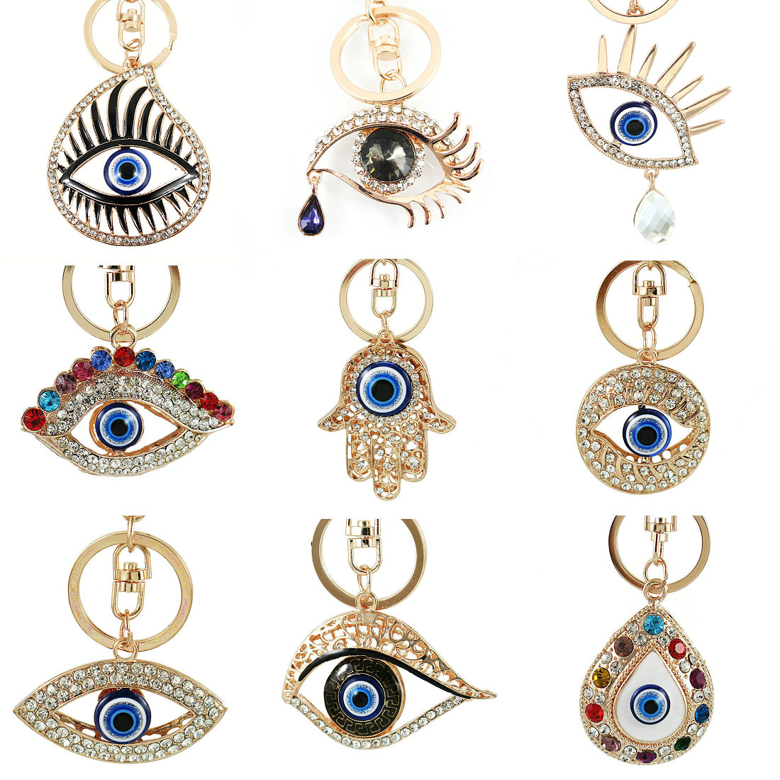 Personalized Metal Crystal Multiple Styles Evil Eye Key Ring Unisex Car Keychain Women Charms HandBag Pendant Key Chains Jewelry