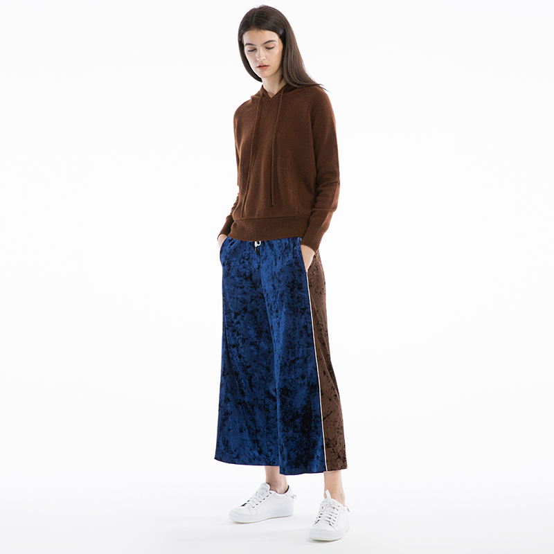 CH322 Original Design Autumn 2017 new arrivals elastic waist loose casual women velour wide leg   pants     capris